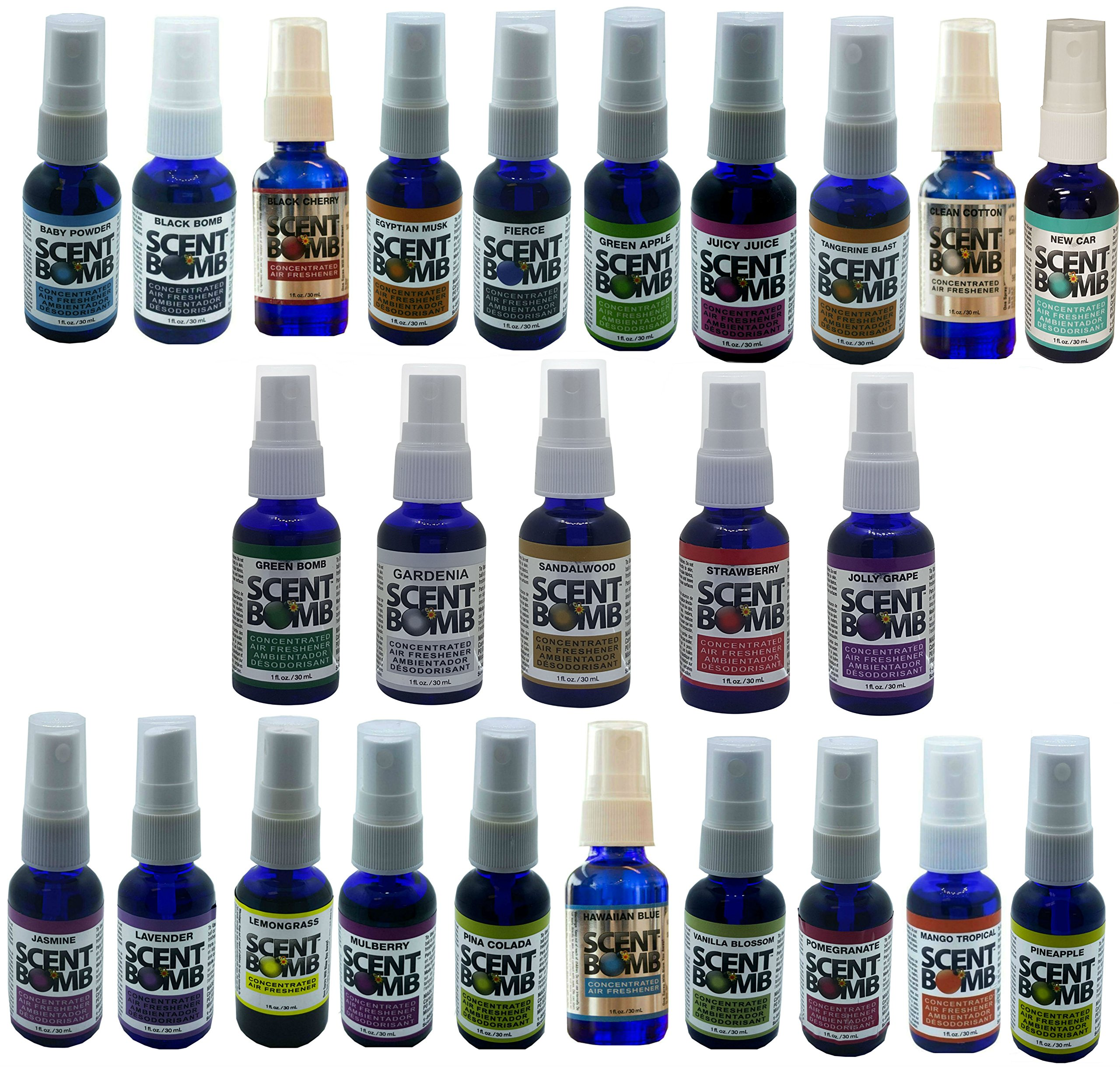 Scent Bomb 1oz Pure Concentrated Air Freshener 24 Different Fragrance Starter Pack Display (Without Display Case)