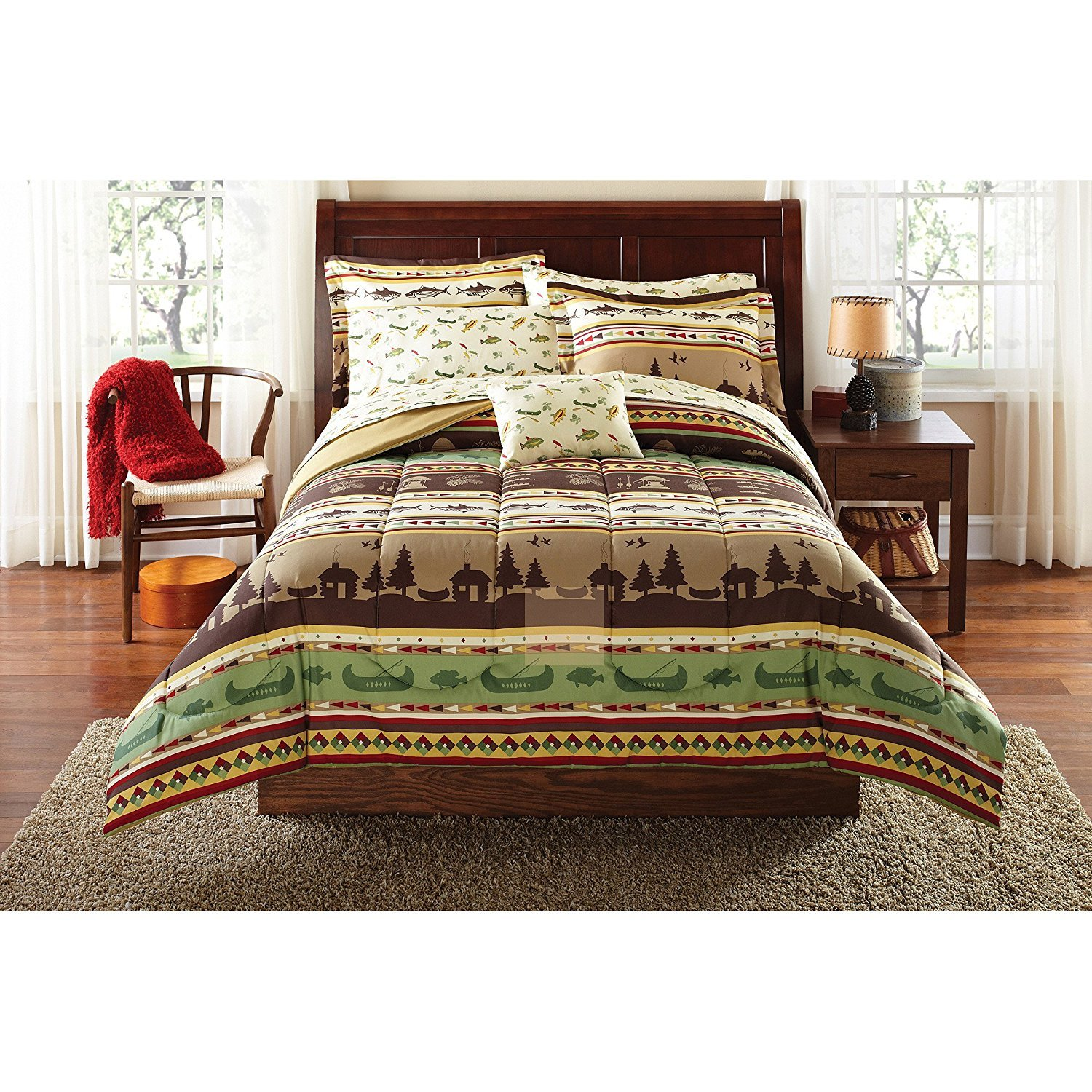 OSD 8pc Brown Green Fishing Stripes Theme Comforter Set Full Sized, Vibrant Colors, Sea Animals Bedding, Boats, Cabin Lodge Hunting Pattern, Geometric Patchwork Striped Inspired