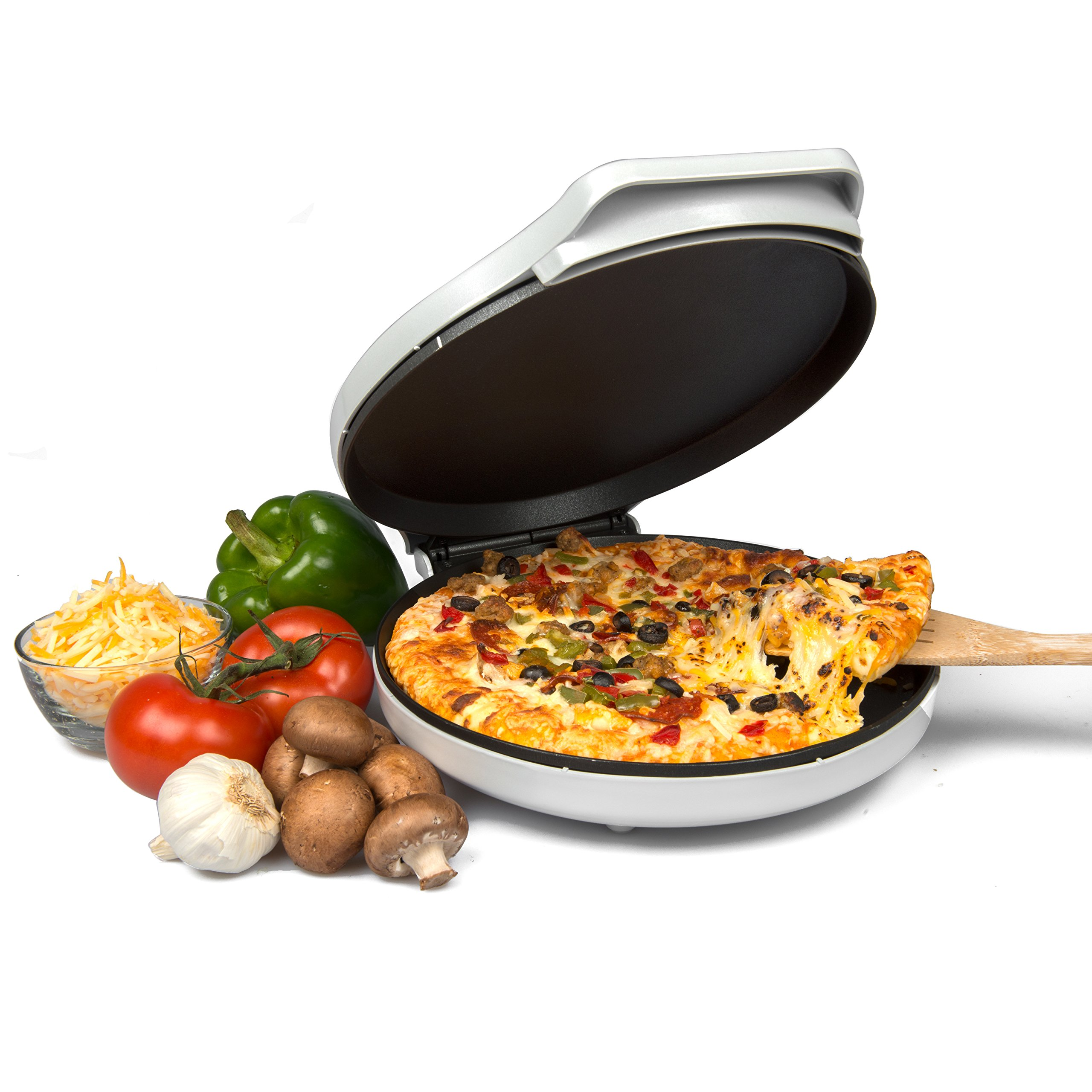 CucinaPro Pizza Maker and Everyday Baker - Electric Griddle Grill Pan Heats and Reheats in less than 2 minutes, White by CucinaPro (Image #4)