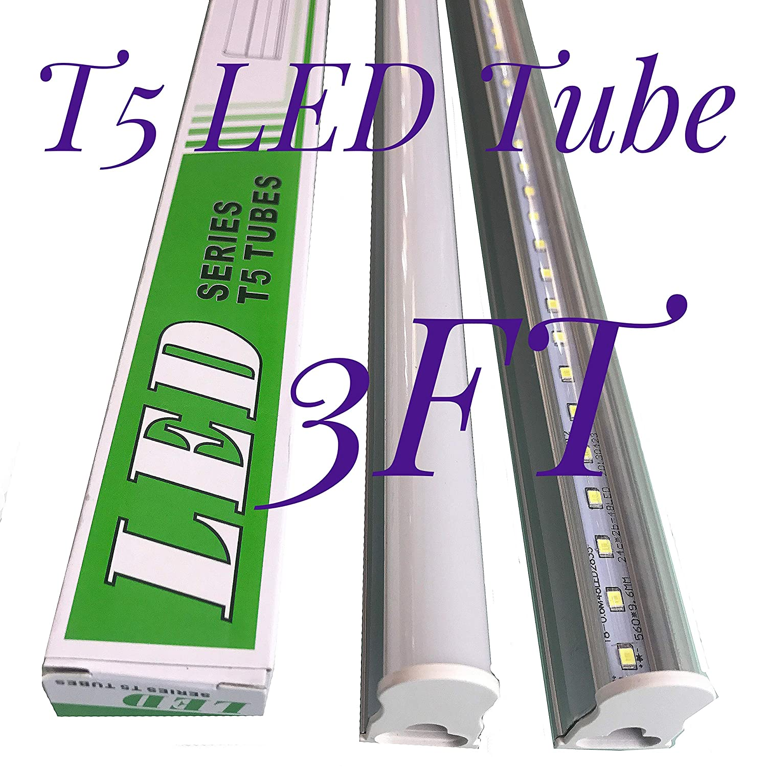 Cidasxl T5 Led Tube For 3 Feet 14w 40w Equivalent 72pcs Dol Control Wiring Diagram 6000k 1600 Lumens 50 000 Hours Transparent Cover Double Sided Connection1