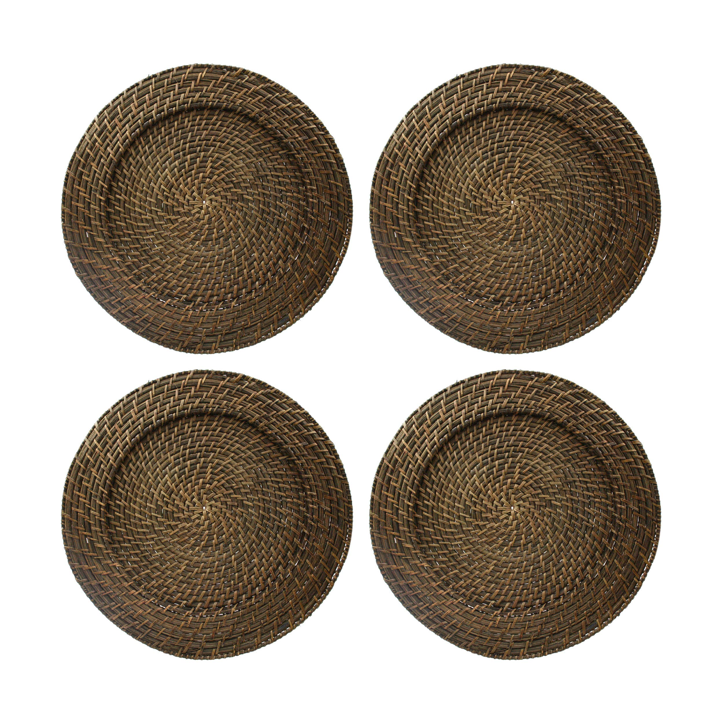 Round Rattan Brick Brown 13-Inch Charger, Set of 4 by Jay Import