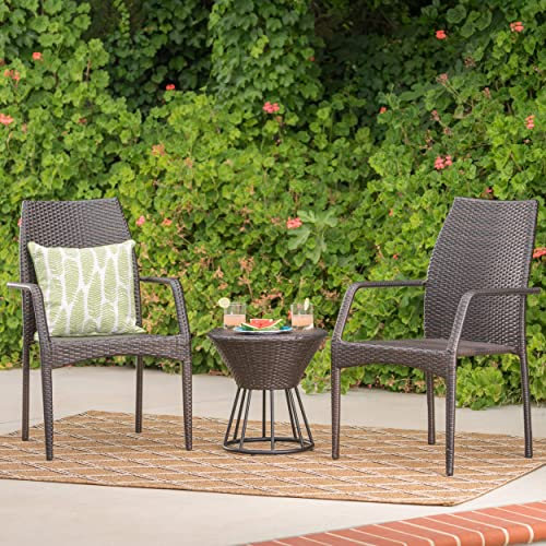 Christopher Knight Home Whitney Outdoor Wicker Stacking Chair Chat Set