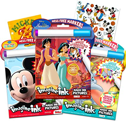 - Amazon.com: Disney Coloring Book Imagine Ink Super Set ~ 3 No Mess Magic  Ink Activity Books Featuring Aladdin, Mickey Mouse, And Dumbo With Disney  Mickey Mouse Stickers: Toys & Games