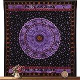 Zodiac Tapiz colgante de pared horóscopo tapiz indio astrología Reina tamaño 84 x 90, signo del zodiaco colcha, algodón colcha,…