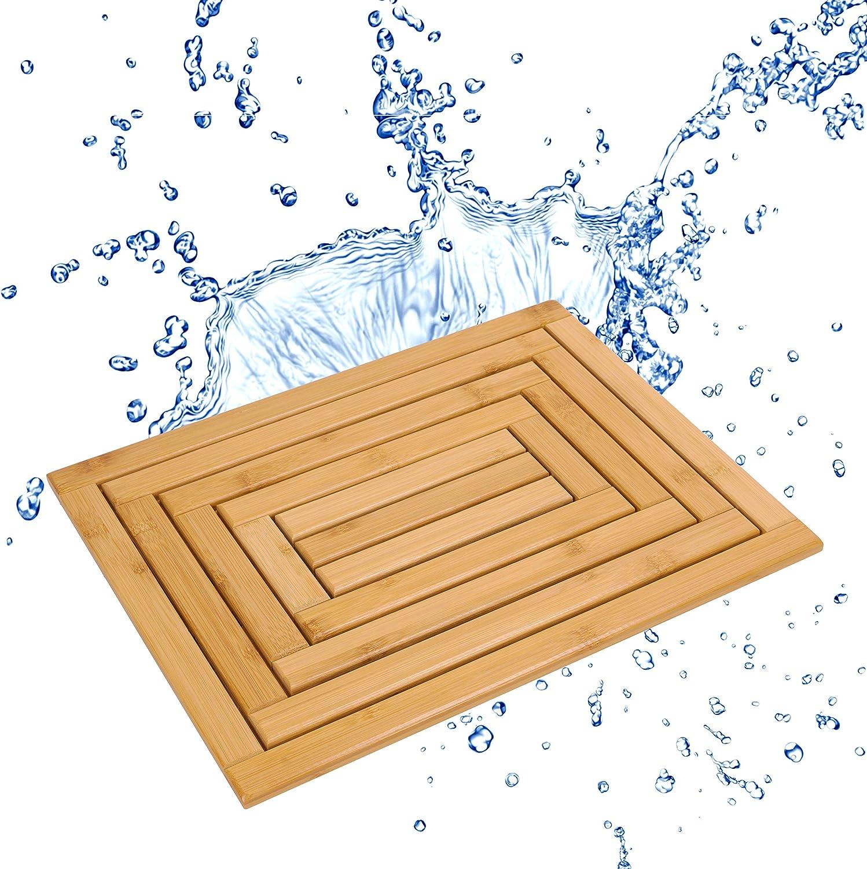 "Bula Home Bamboo Bath Mat | Beautiful, Non Slip Wood Bath Mat | Natural, Eco-Friendly Wooden Bath Mat | Bamboo Shower Mat or Bathroom Floor Mat Perfect for Any Decor… (17"" x 13"")"
