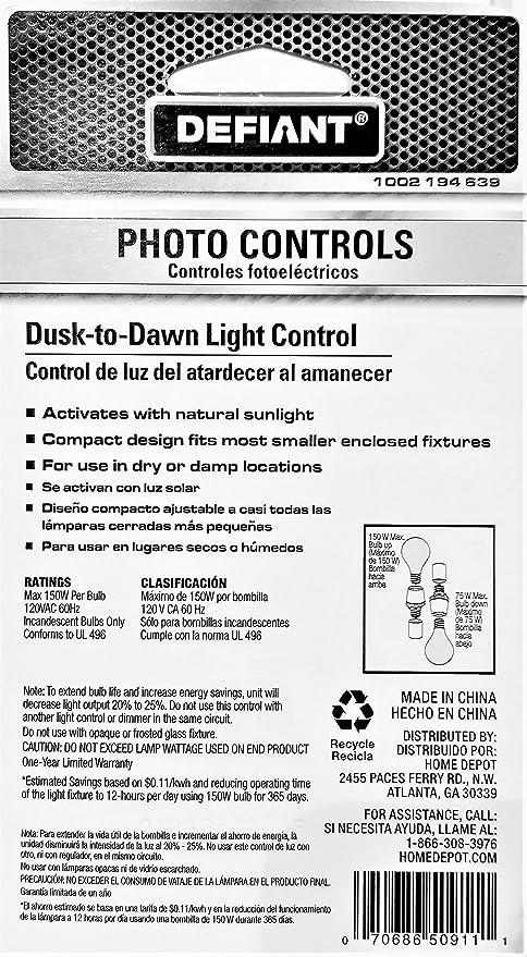 Defiant Dusk-to-Dawn Photo Light Control, Black - - Amazon.com