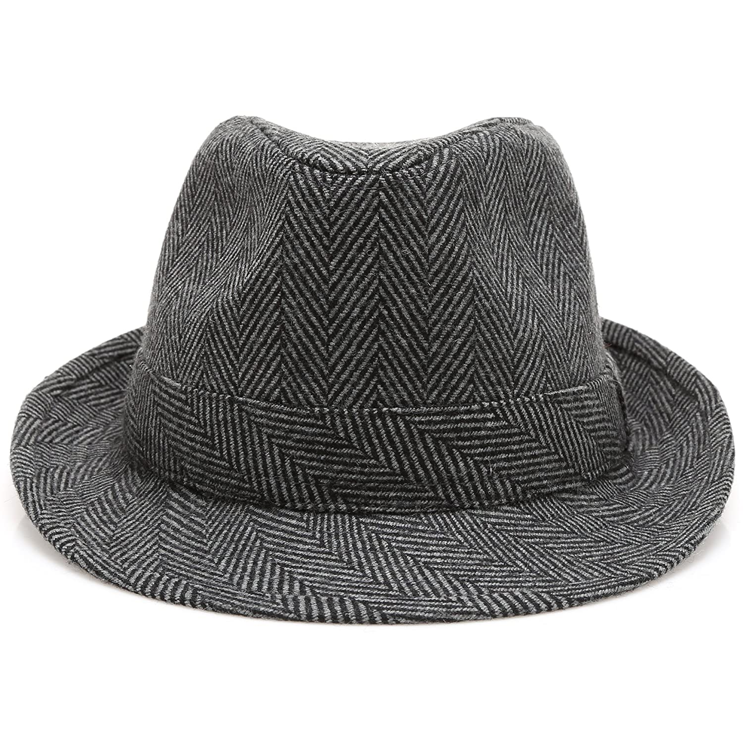 4f673754a16ef7 MIRMARU Men's Wool Blend Short Brim Fedora Hat with Band at Amazon Men's  Clothing store: