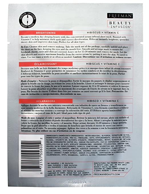 Amazon.com: Beauty Infusion Freeman, Brightening Hibiscus + Vitamin C Sheet Mask, 6 Count: Beauty