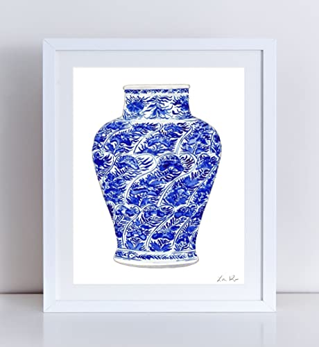 d4f34abb1f5 Blue and White China Vase Art 5 Blue and White Chinoiserie Art Chinoiserie  Painting Chinese Wall Decor Chinese Art Print Asian Wall Decor Watercolor  ...