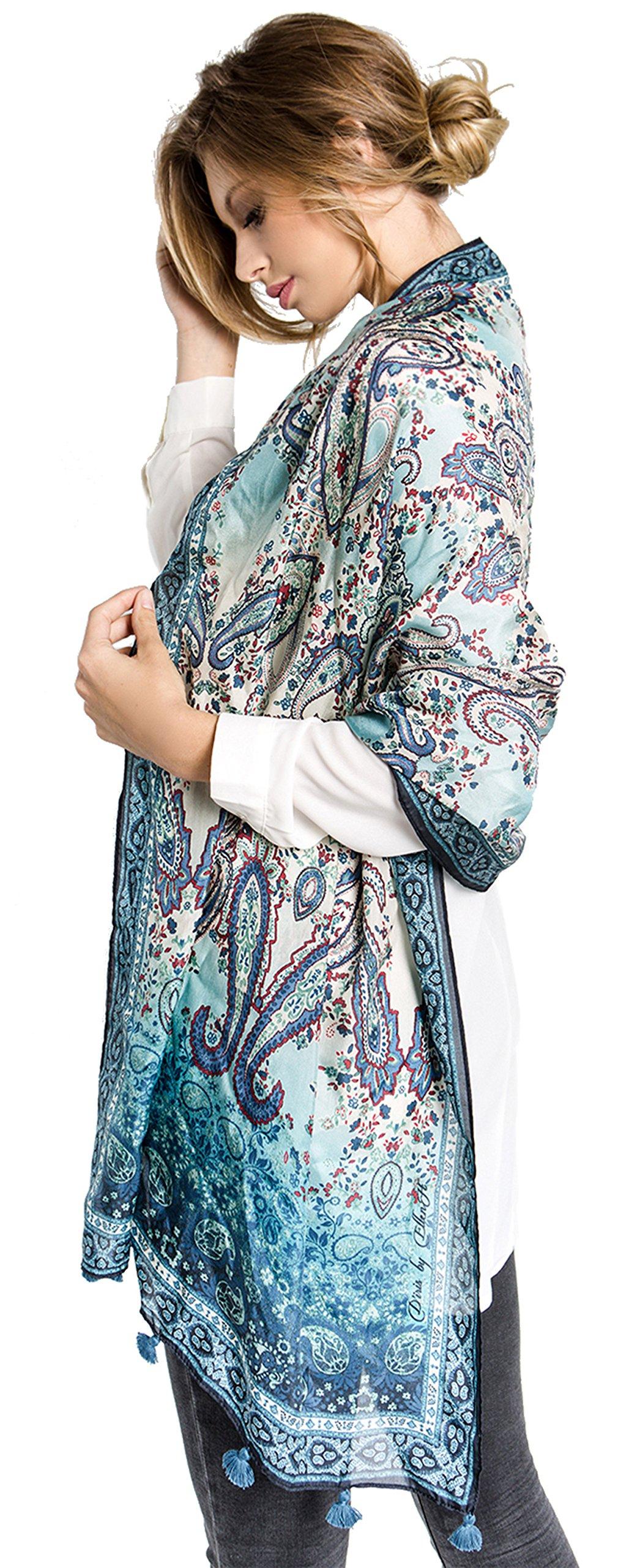 Fine Silk Scarf for Women-Luxury Fashion Print Extra Long Lightweight Wrap Shawl Headscarf by d'IRIS (Image #3)