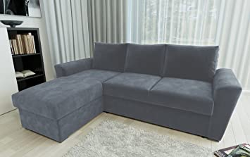 Direct Furniture Chenille Stanford L-Shape Left/Right Sofa Bed with  Internal Storage Corner, Charcoal, Three_Seats