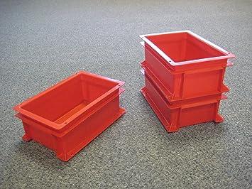 10 Neue Kunststoff Aufbewahrung Kisten Box Container 5L Rot