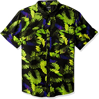GUESS Mens Short Sleeve Leaf Print Button Down Shirt