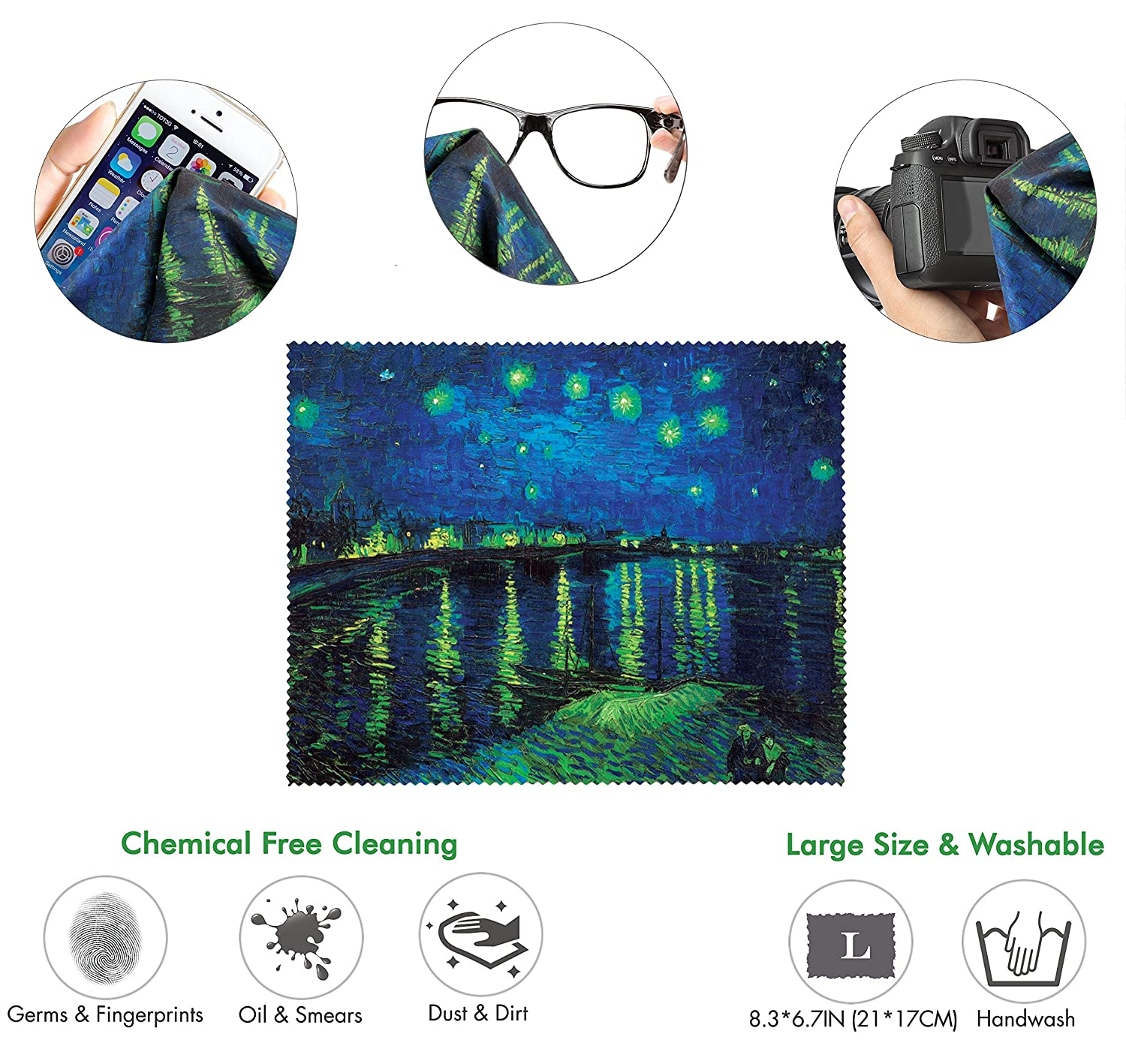 Van Gogh Starry Night Ergonomic Design Mouse Pad with Wrist Support Cars /& Electronics Matching Microfiber Cleaning Cloth for Glasses Mouse Pad for Laptop PC Computer and Mac. Gel Hand Rest