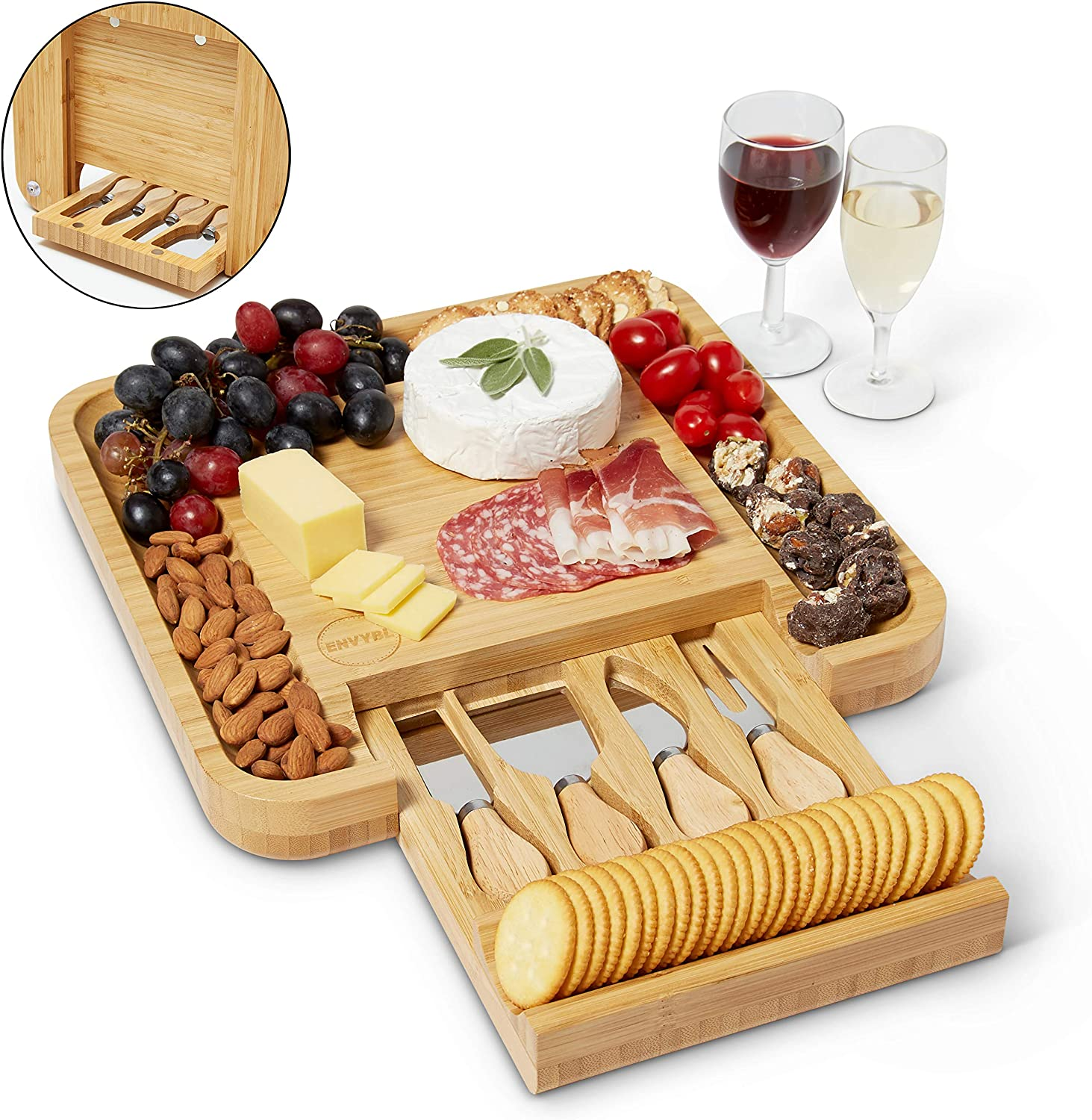 Envybl Bamboo Cheese Board & Cutlery Knife Set Serving Tray - An Elegant Antibacterial Charcuterie Platter - Perfect Appetizer Appliance Essential for Meat & Wine Hosting or Wedding & Birthday Gifts