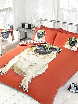 Rapport Pug Perro Rojo King Size edredón Funda de edredón y 2 Funda de Almohada Juego de Cama Ropa de Cama de Perros: Amazon.es: Hogar