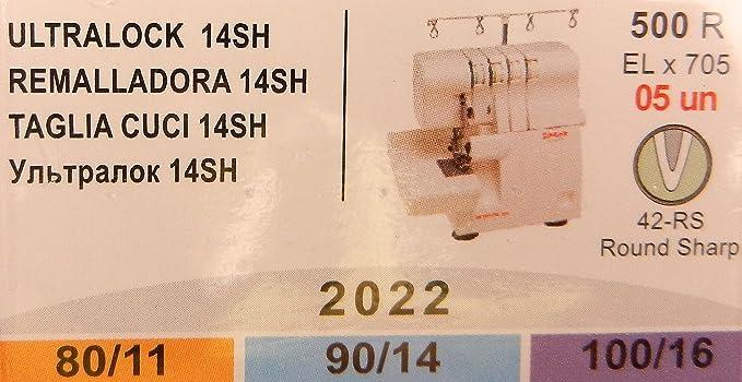 Singer Overlock Ultra Lock 14SH 2022 - Agujas para máquina de coser, 5 unidades, 80/11, 90/14 y 100/16: Amazon.es: Hogar