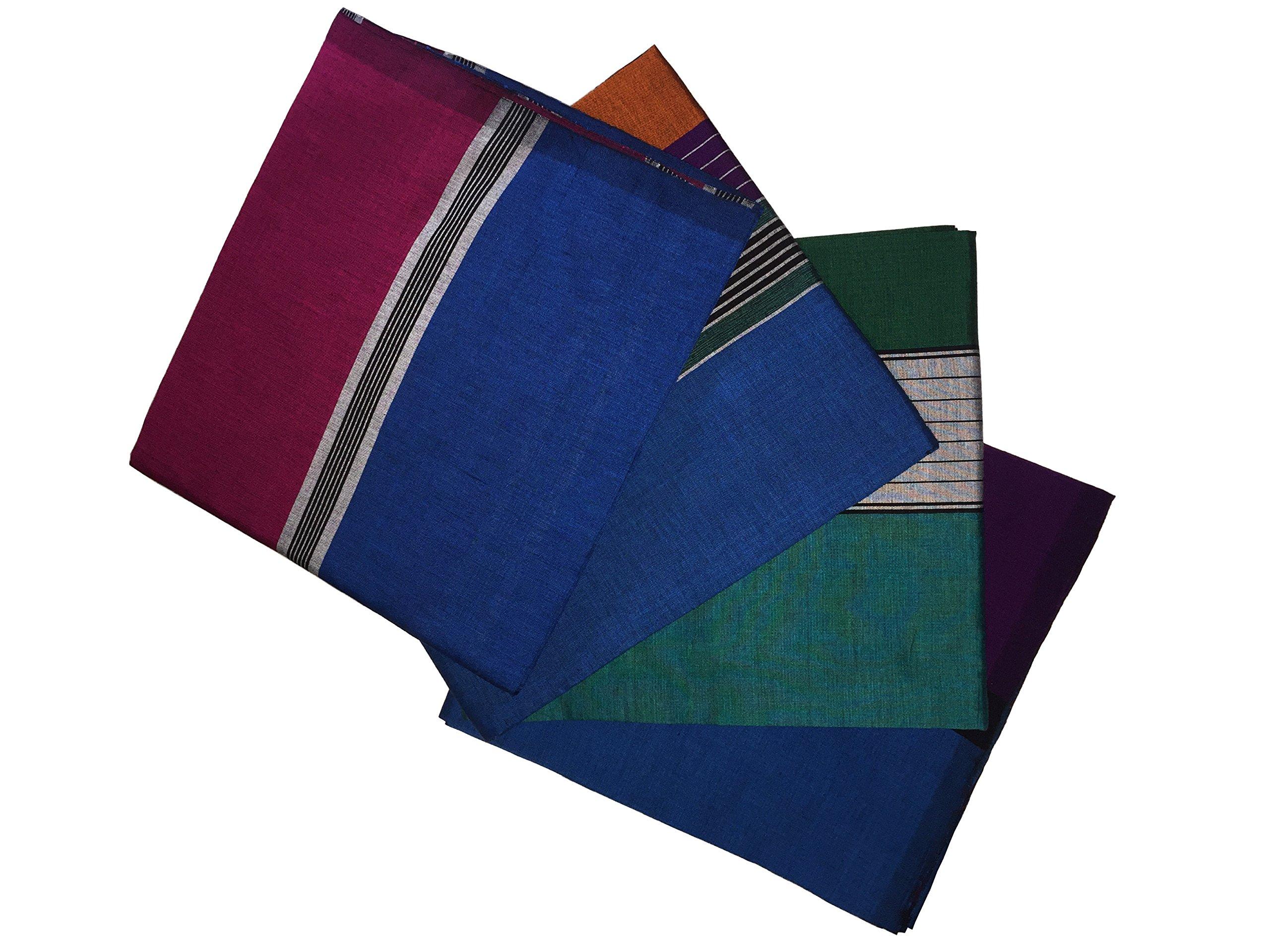 ReenaHANDS Lungi Sarong Mens Handloom Lungi Sarong 100% Cotton. Stitched Tube Sarong. Assorted Color/Design by ReenaHANDS (Image #1)