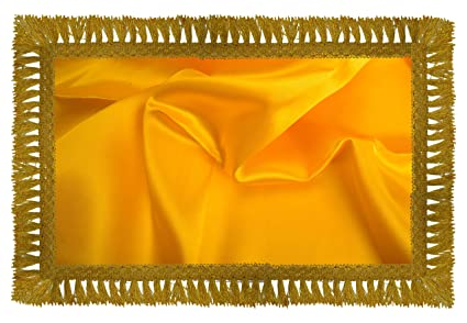 Holy Fabrics Satin Shawl for Shirdi Sai Baba (300 cm x 114 cm, Yellow)