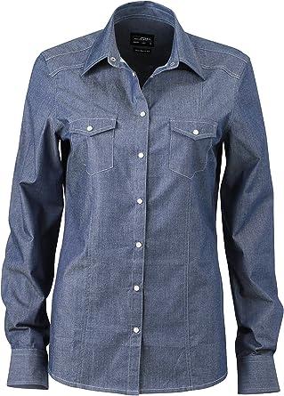 James & Nicholson Ladies Denim Blouse Blusa para Mujer ...