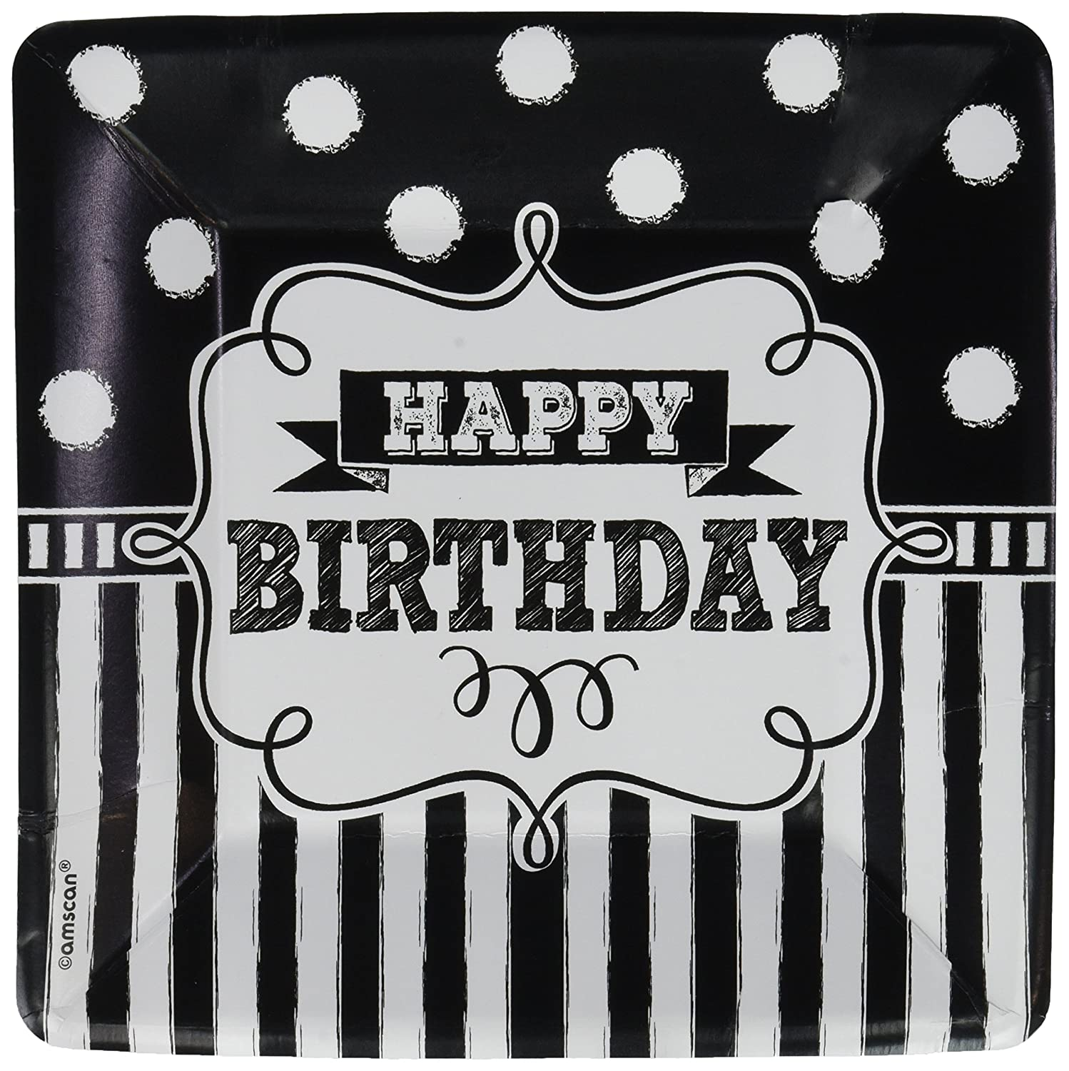 TradeMart Inc Square Plates Birthday 96 Ct Black /& White Collection 541671