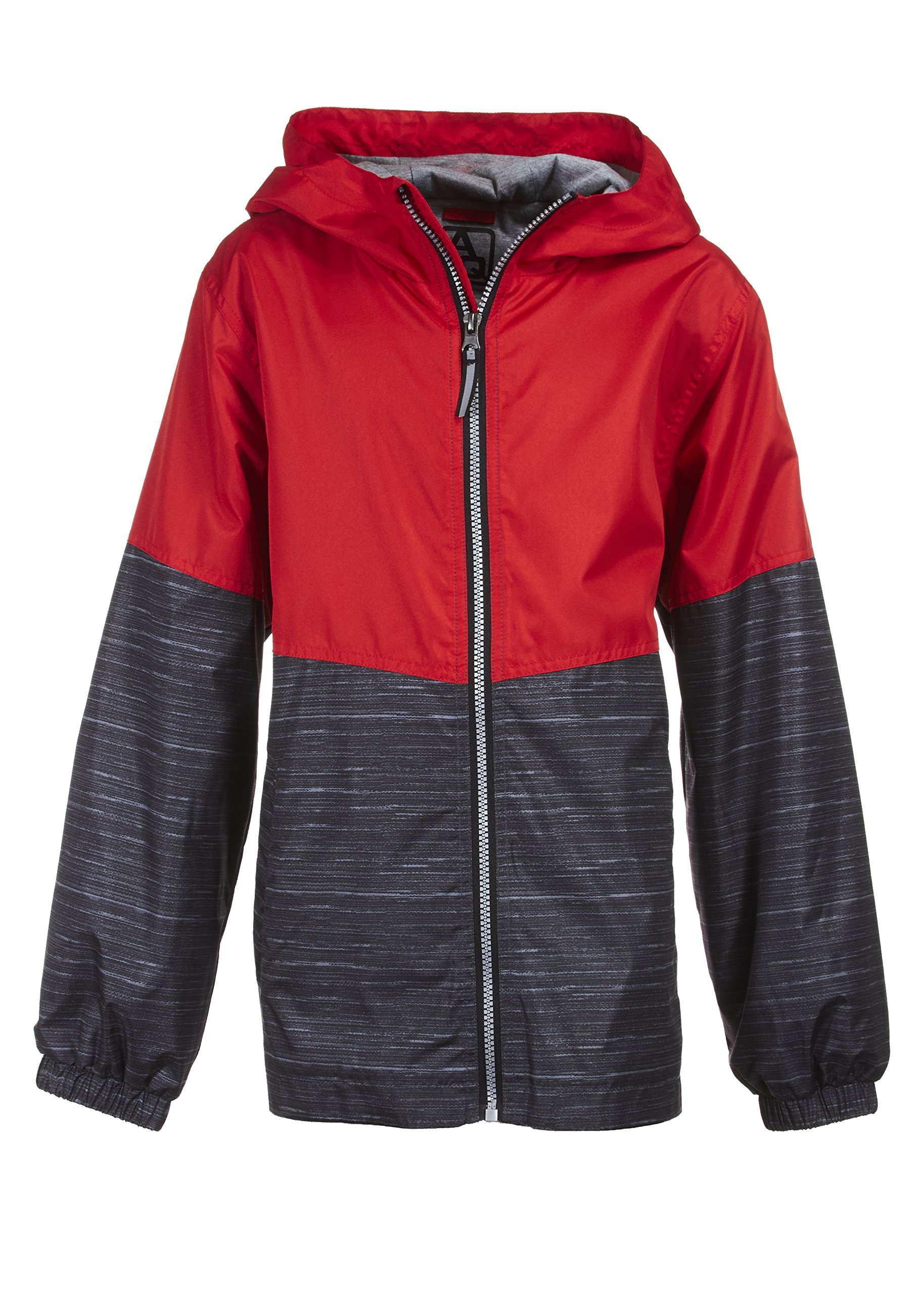 Arctic Quest Children's Colorblock Windbreaker Jacket Jersey Lining & Hood Red 10/12