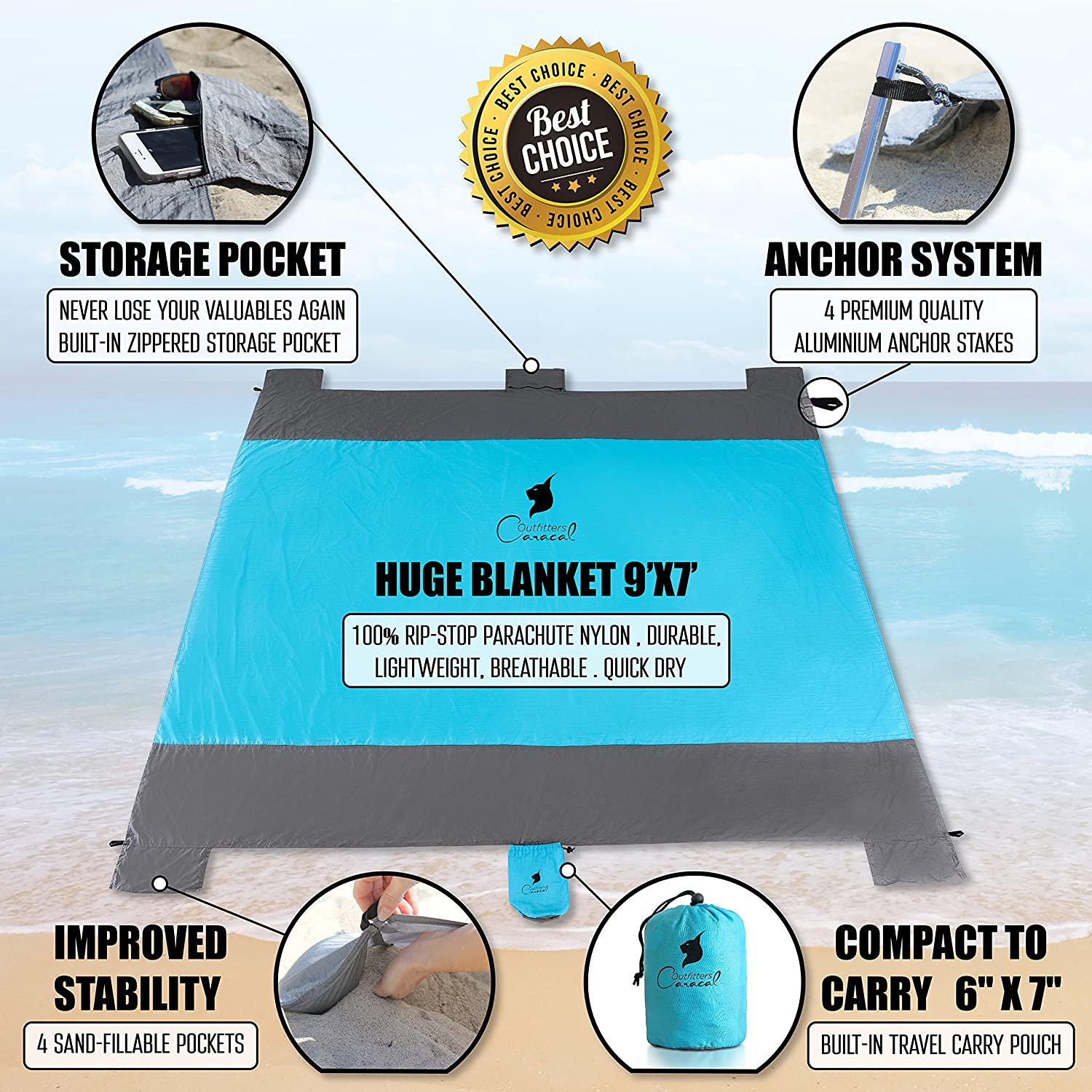amazoncom compact sand proof beach blanket oversized xxl ripstop lightweight parachute nylon for picnic camping outdoor events 4 anchor loops
