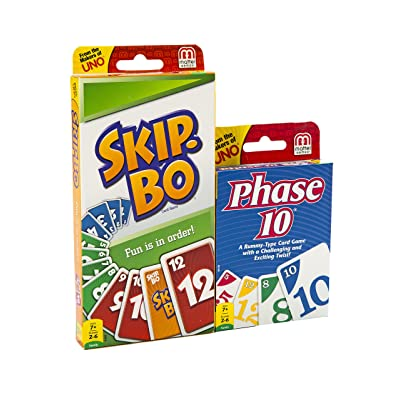 Mattel Phase 10 Card Game with Skip-Bo Card Game: Toys & Games