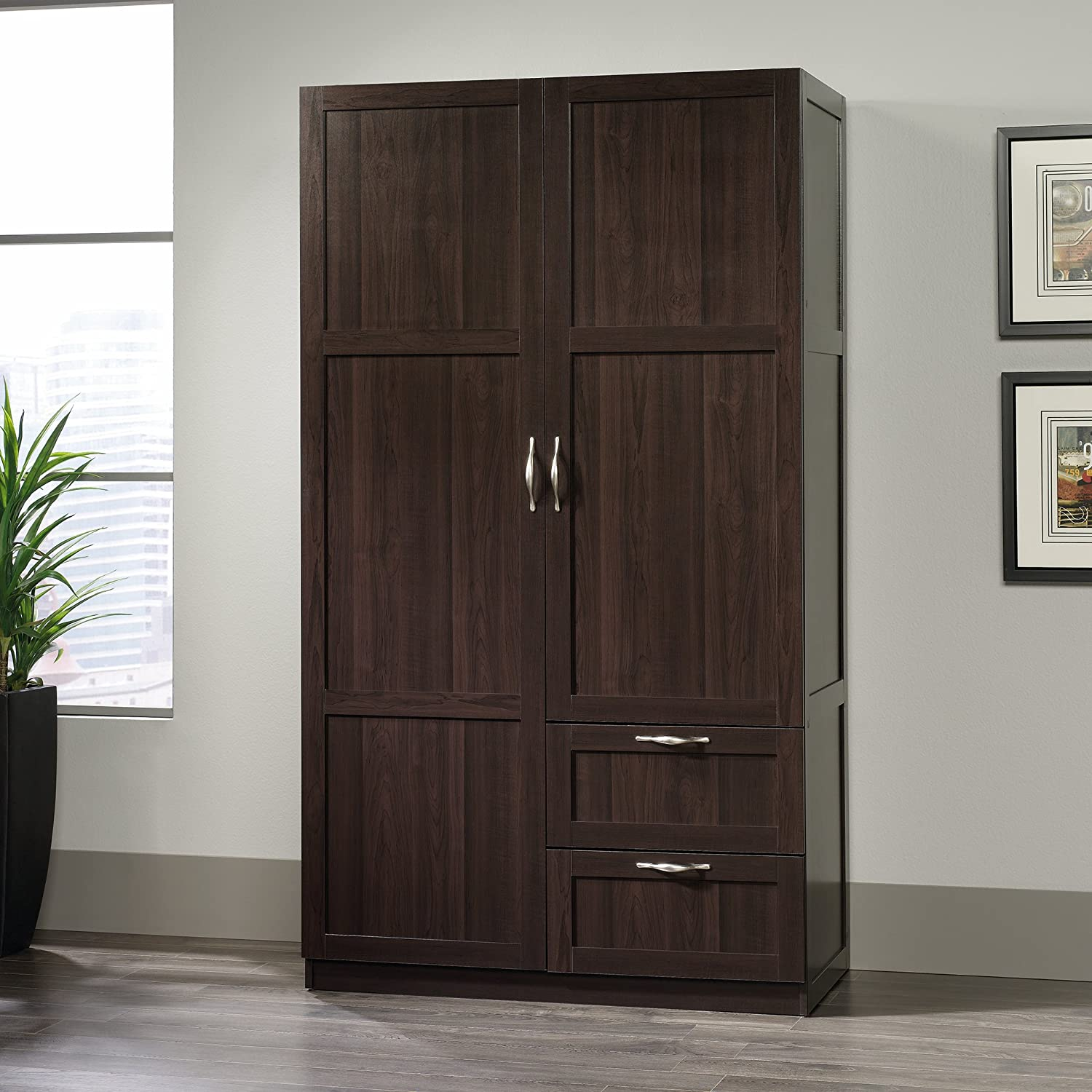 cabinet sauder dp highland kitchen com storage wardrobe oak beginnings dining inch amazon