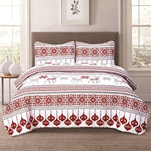 Winter Holiday Twin Quilt Bedding Set Red Grey White Christmas Ornament Reindeer
