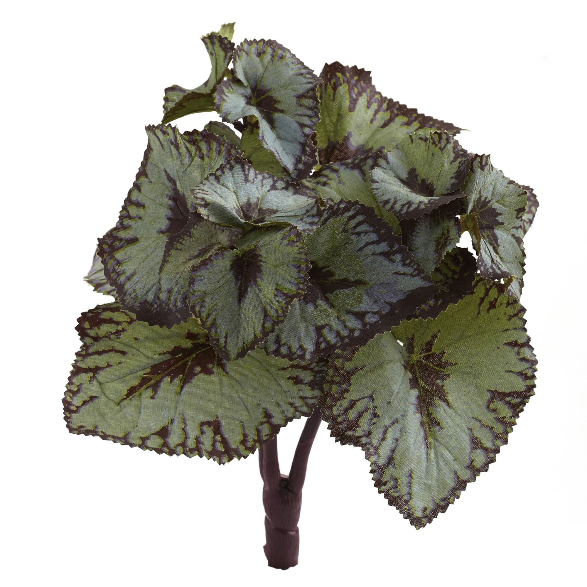 Nearly Natural Rex Begonia Artificial Bush Stems, Set of 12, Green, 12 Piece by Nearly Natural