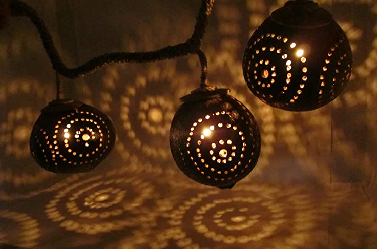 tiki lighting. Hanging Strand Light Porch Tiki Lighting String Natural Wood Coconut Shell Lamp Thailand (3-