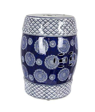 Sagebrook Home Ceramic Garden Stool, Blue/White, 12.5u0026quot; X 12.5u0026quot;