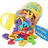 Magnetic Letters and Numbers by Curious Columbus. Set of 115 Premium Quality ABC, 123 Colorful Foam Alphabet Magnets. Top Rated Best Educational Toy for Preschool Learning, Spelling, Counting.