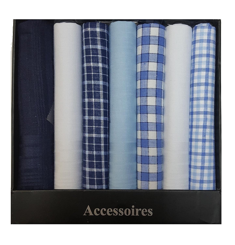 Handkerchief Men Assorted Woven 100% Cotton Hankies Fashion Gift Box Bulk 7 pack 7)