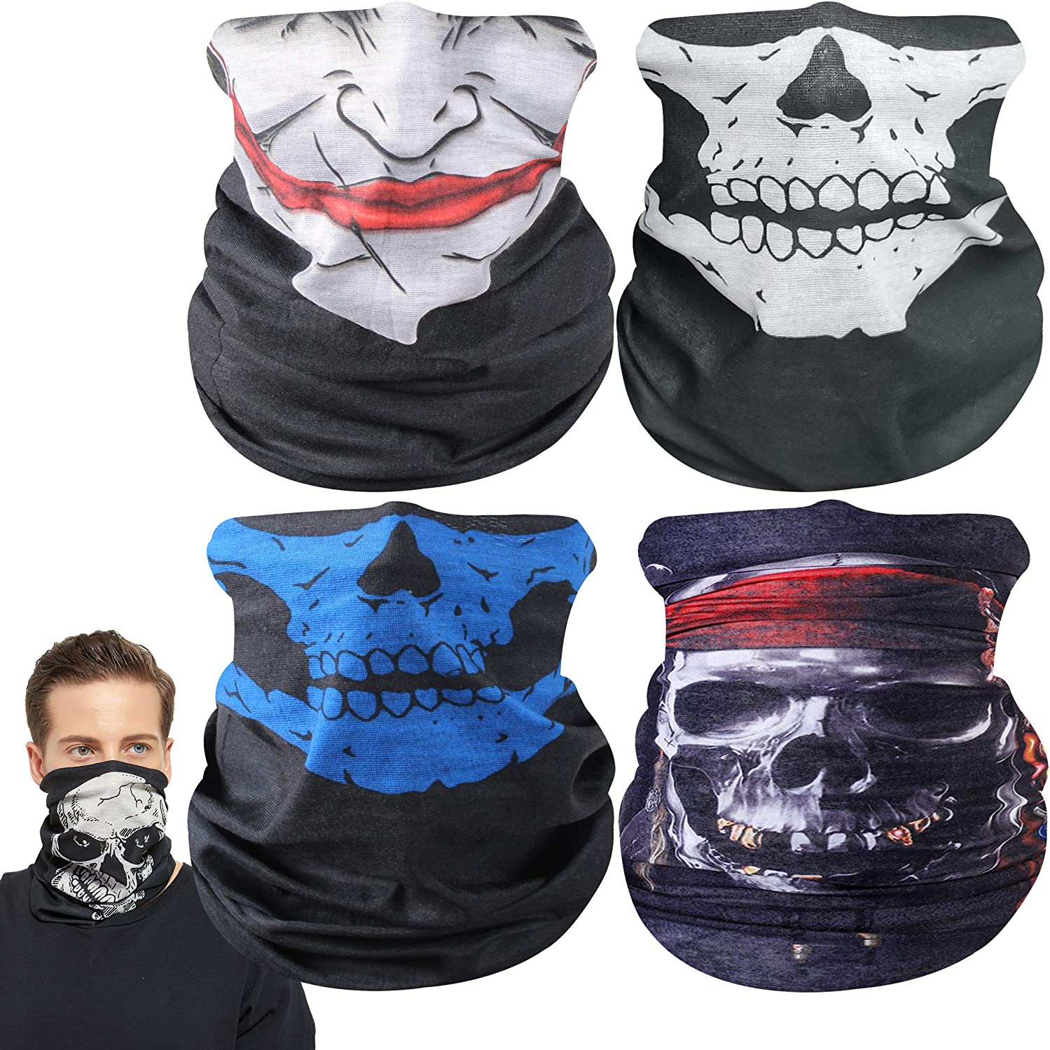 Ristake 4 Pieces Seamless Neck Gaiter Men Women Face Mask Elastic Balaclava Headband Face Cover for Sun UV Dust Wind Protection Cycling Hiking Sports