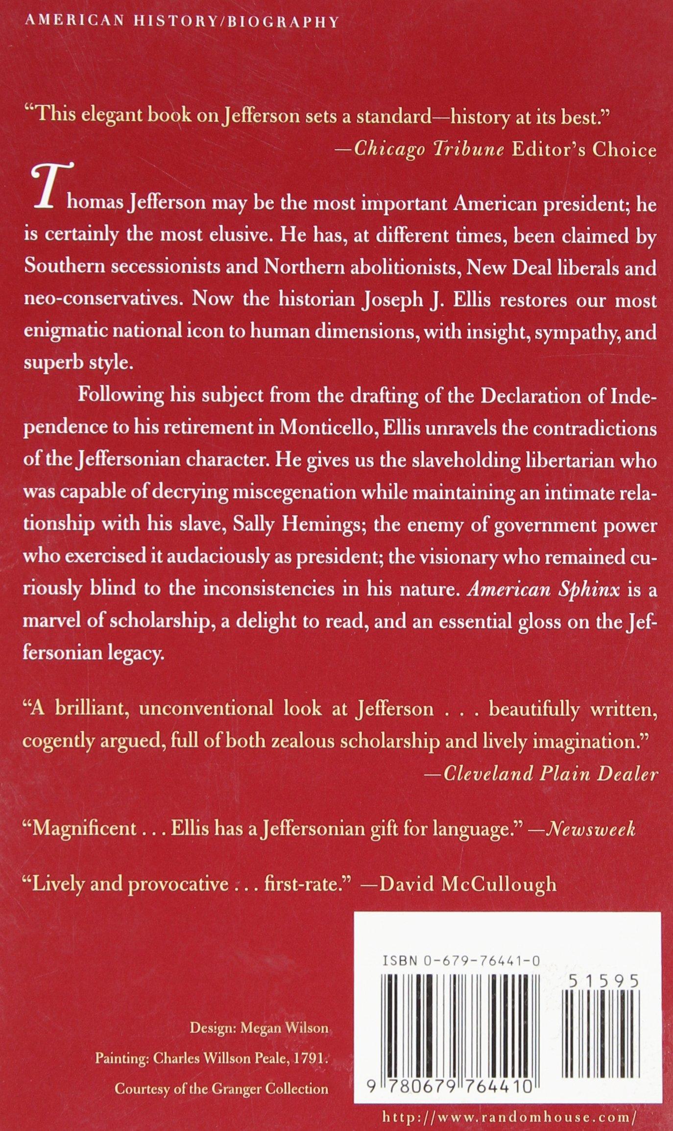 Amazon: American Sphinx: The Character Of Thomas Jefferson  (9780679764410): Joseph J Ellis: Books