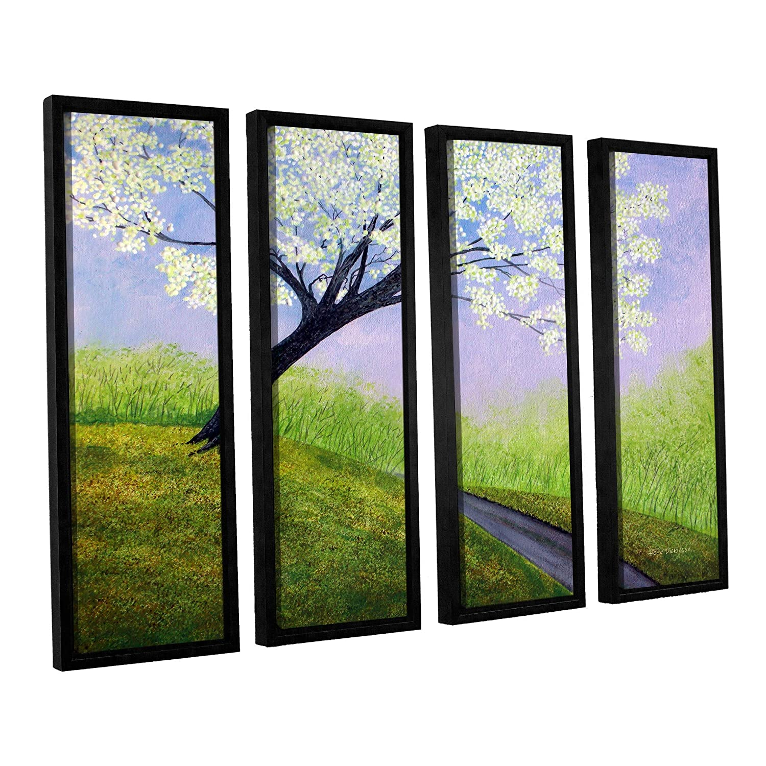 ArtWall 4 Piece Herb Dickinson's Road to Cobbly Nob Floater Framed Canvas Set, 36 x 48'