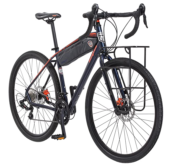 Mongoose Men's Elroy Adventure Bike 700C Wheel Bicycle, Blue, 54cm frame size best cycle-cross bikes