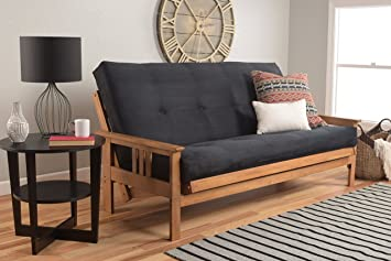 Michael Anthony Furniture Monterey Full Size Futon Sofa Bed, Butternut Wood Frame, Suede Innerspring Mattress, Black