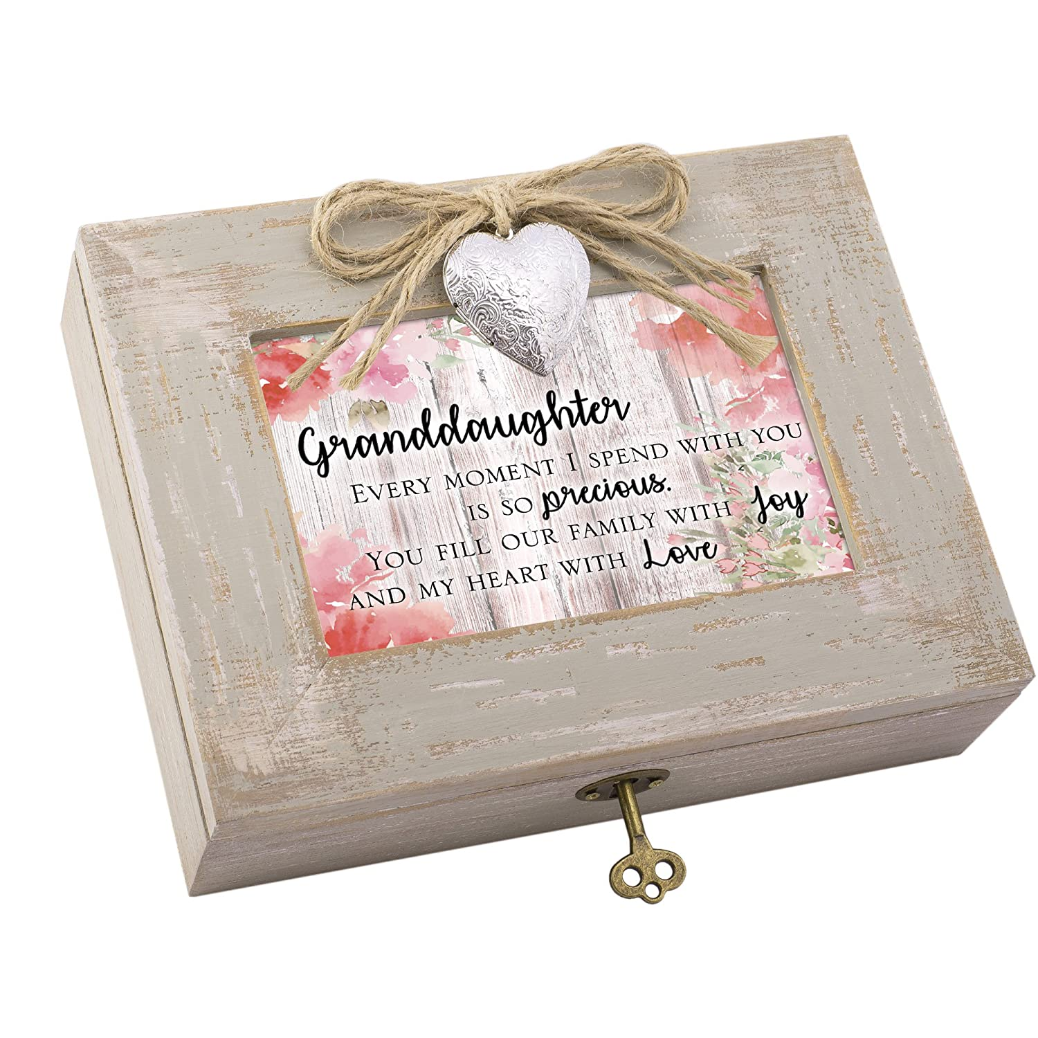 Cottage Garden Granddaughter Fill Heart with Love Natural Taupe Wood Locket Music Box Plays Edelweiss