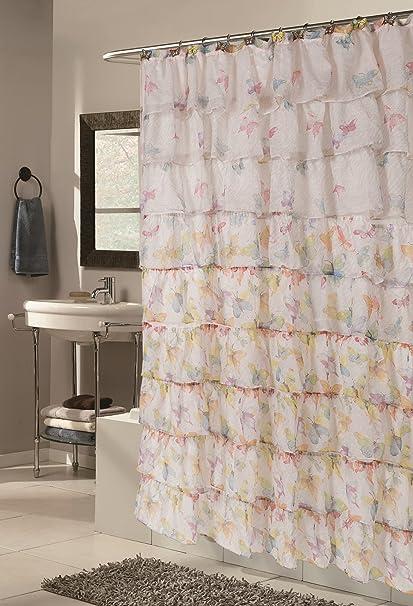Carmen Butterfly Sheer Fabric Shower Curtain 70Wx72L