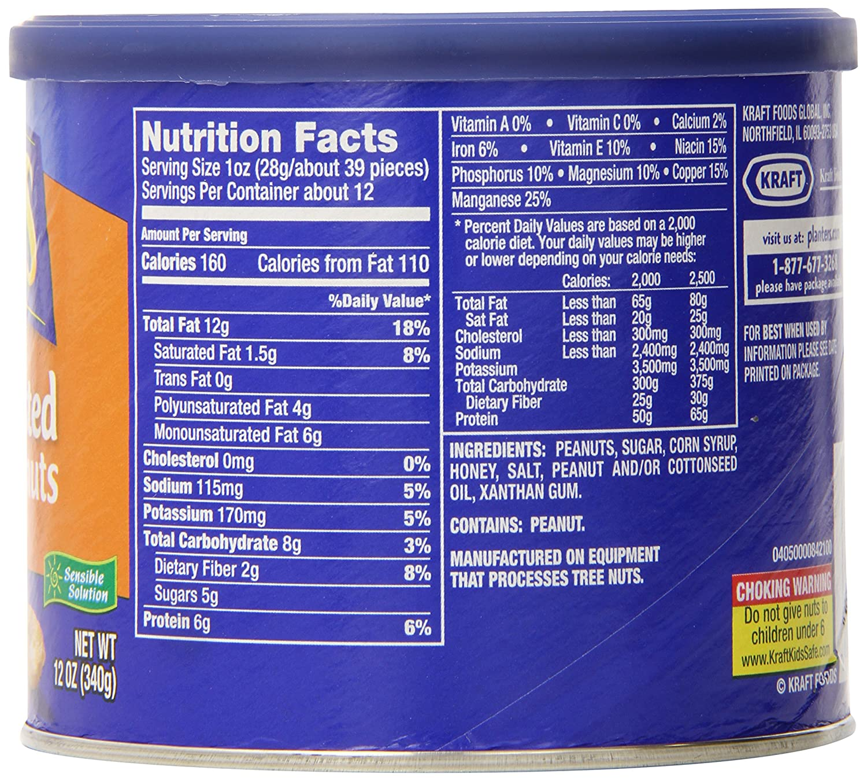 Amazon.com : Planters Dry Roasted Peanuts, Honey Roasted, 12 Ounce on capri sun nutritional information, peanut m & m's nutritional information, coca-cola nutritional information,