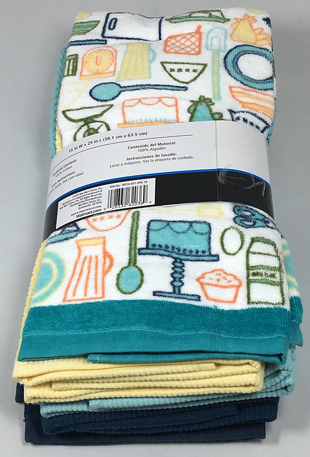 Amazon.com: Kitschy Kitchen Towels 5 Piece Set - 2 Print and 3 Plain: Home & Kitchen