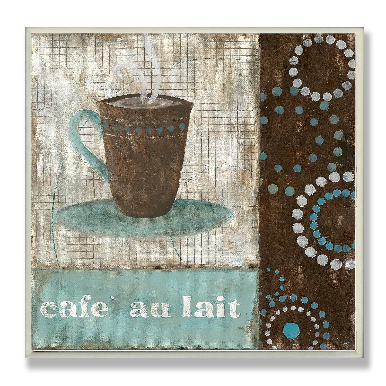 Cafe au lait kitchen decor - Amazon Com The Stupell Home Decor Collection Cafe Au Lait Brown And Blue Square Wall Plaque Home Kitchen