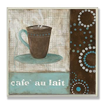 The Stupell Home Decor Collection Cafe Au Lait Brown And Blue Square Wall Plaque