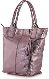 LIATALIA Womens Genuine Italian Soft Leather Large Tote Shopper Tassel and  Pouch Shoulder Handbag - AURORA 34fc99a5b0dd3