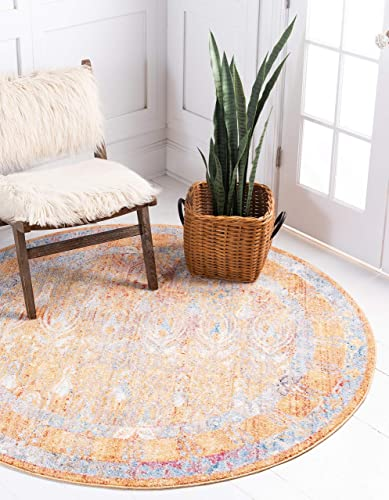 Unique Loom Brighton Bright Traditional Area Rug, 6 0 x 6 0, Orange Beige