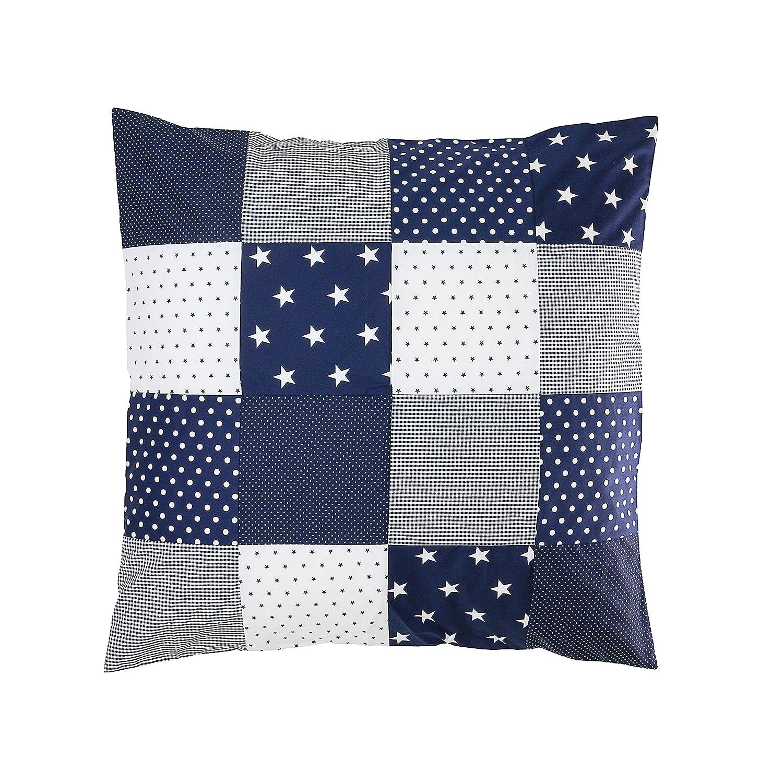 ULLENBOOM ® Housse de Couette Bébé Patchwork 80x80 cm Bleu Clair Gris (Housse d'édredon en Coton pour bébé, Motifs étoiles, Pois & Vichy) KIOF-BHG-80