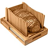 Kitchen Seven Bamboo Bread Slicer with Crumb Tray Bamboo Bread Cutter for Homemade Bread, Loaf Cakes, Bagels Slicer, 3 Slice